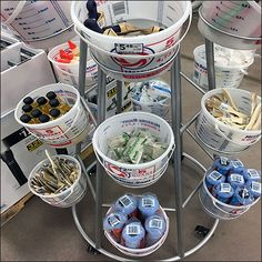 Why create costly custom containment when you can deploy loose merchandise with this Bulk-Bin-Bucket Ring Tree Tower. Simple buckets are the containment. Retail Fixtures, Store Fixtures, Tree Rings, Slat Wall, Quiver, Hooks, Bucket, Tower, Tableware