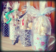 How about a tea break treat? Bone China mugs with choclate treats inside!! #sweet #gift #chocolate #mug #pretty #teacup