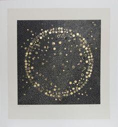 Zarina Hashmi, 'Splitting Stars', Woodcut with gold leaf and collaged black paper. Black Paper, Woodblock Print, Printmaking, My Arts, Artsy, Tapestry, Sculpture, Stars, Gold Leaf