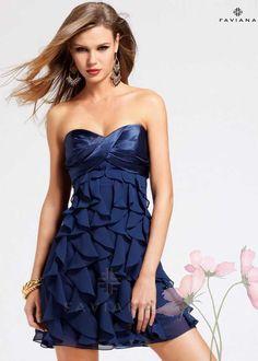 Navy Cirsscross Top Faviana 6811 Short Ruffled Homecoming Dress