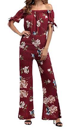 56e5753f7a6 Comfy-Women Stylish Chiffon Off Shoulder Flare Wide Leg Party Jumpsuit  Pleated Jumpsuit