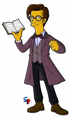 Doctor Who Simpsons character - Eleventh Doctor Mr Clever, Saga, Doctors Series, Simpsons Drawings, Doctor Who Companions, Classic Doctor Who, Simpsons Characters, Watch Doctor, Doctor Who Art