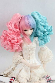 """BJD Doll Hair Wig 8-9"""" 1/3 SD DZ DOD LUTS Blue Pink Purple Mixed with ponytails"""