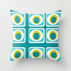 Modern Blue  Pillow CoverTurquoise & White  by crashpaddesigns