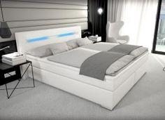 Leder Boxspringbett mit Bettkasten Stauraum weiß 180 x 200 cm LED neu