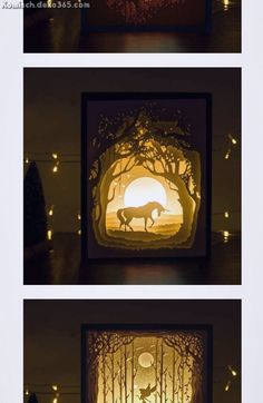 Papercut Light Boxes is a kind of innovative night lights, it is also called paper cut shadow box or silhouette box. It is redefining night lights with silhouette Art. Diy Shadow Box, Shadow Box Frames, Sombra 3d, Shadow Box Kunst, Licht Box, Altered Art, Altered Tins, Easy Frame, Cricut Craft Room