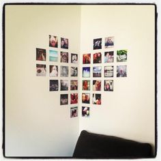 Idea for photo arrangement. like how it is a different shape and how it wraps around the corner. My New Room, My Room, Diy Room Decor, Bedroom Decor, Home Decor, Photowall Ideas, Polaroid Wall, Creation Photo, Bedroom Photos