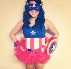 Cute Captain America T-shirt with mask, red tutu, small shield, and arm bands! Fancy Costumes, Super Hero Costumes, Diy Costumes, Costumes For Women, Costume Ideas, Halloween Kostüm, Couple Halloween, Halloween Outfits, Halloween Costumes