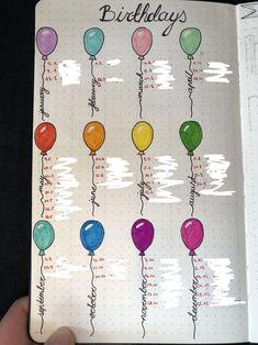 My birthday-overview #bulletjournal #bulletjournaling #bujo #birthdays #balloons...  #balloons #birthday #birthdays #bulletjournal,