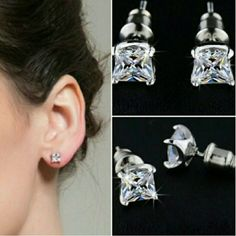 Gorgeous Sparkling 5mm x 5mm Stud S Gorgeous Sparkling 5mm x 5mm 0.63 Carat Princess Cut Silver Plated Studs Shining Story Fashions Jewelry Earrings