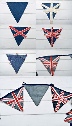 Make fabulous upcycled denim bunting using old jeans. There are 2 versions of this patriotic bunting, Union Jack and Stars and Stripes. Fabric Bunting, Bunting Banner, Buntings, Banners, Bunting Template, Bunting Tutorial, Bunting Ideas, Blue Bunting, Denim Crafts