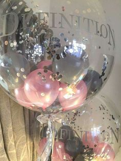 Pink & Grey confetti bubble balloon - Decoration For Home Balloon Decorations, Birthday Party Decorations, Balloon Ideas, Bubble Balloons, Bubbles, Party Ideas For Teen Girls, 18th Birthday Party, Birthday Presents, Balloon Delivery