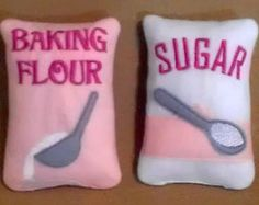 NEW YEAR SALE Play pretend Felt food - bag of pink Flour and Sugar Perfect for young bakers  play kitchens