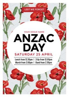 Create an event flyer or poster for Anzac Day or Australia Day without the need for a graphic designer. Check out the huge range of professionally pre-designed posters, flyers and social media graphics that you can update yourself, in minutes. Aus Day, Anzac Day, Australia Day, Cultural Events, Social Media Graphics, Red Poppies, Diy Design, Event Posters, Poster Templates
