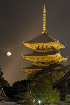 Five-story pagoda of Tō-ji with Moon Kyoto, Japan
