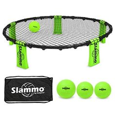 GoSports Slammo Game Set (Includes 3 Balls, Carrying Case and Rules). Slammo is a super hot game right now; it's played similarly to doubles volleyball but the circular net is only ankle-high and sits on the ground so you don't have to deal with staking a net into the ground which is great for camping. The GoSports Slammo Game Set includes the net, 3 balls and a convenient carrying case.