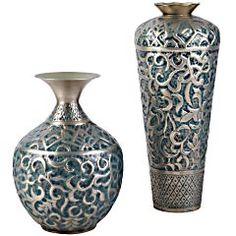 Embossed Pewter Vases, Pier 1.