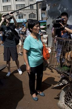 "Chinese Woman Buys 100 Dogs To Save Them From Meat Festival. ""Quote from the article: About 10,000 dogs are killed each year for the Yulin festival, which coincides with the summer solstice. Some of the dogs that arrive in the city have collars, reported the Daily Beast, indicating that they may be stolen pets."""