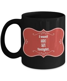 Excited to share the latest addition to my #etsy shop: Tofu Mug, Funny Funny Vegan Cup, Vegan Humor Art Work Gift Ideas For Animal Rights Supporters, I Want TO FU Tonight, 11oz Black Ceramic Cup https://etsy.me/2IgZUPH #black  #ceramic #tofumug #funnyveganmug