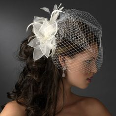 Ivory Headpiece Comb with faux pearls with mesh fabric flowers and delicate feather is perfect for any hairstyle.