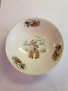 Vintage Homer Laughlin Rhythm 5 1 2 Bowl Western Cowboy Pattern Free Shipping | eBay