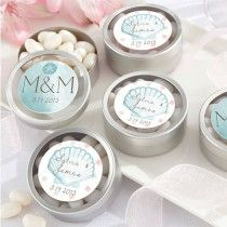 Personalized Silver Round Candy Tin - Beach Tides