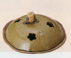 Handcraft earthen Kayari Owl Ash Glaze Seto ware - Stylish Kayari Mosquito coil holder for your home and garden - DOMO ARIGATO JAPAN