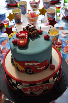 Bought little toy cars - cheaper than making cars out of fondant.