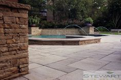 Playing with textures, shapes, and colors can really enhance any paved space. #StewartLandDesigns