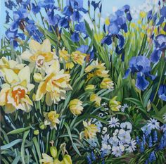 """""""Spring Mix"""" Acrylic on Gallery Canvas by Anna Clarey Daffodils, Pansies, Tulips, Yellow Sign, Tired Of Waiting, Spring Mix, Garden Illustration, Long Winter, Summer Art"""