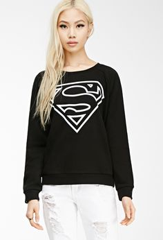 Forever 21 is the authority on fashion & the go-to retailer for the latest trends, styles & the hottest deals. Shop dresses, tops, tees, leggings & more! Graphic Long Sleeve Shirts, Graphic Sweatshirt, Graphic Shirts, Superman Logo, Comic Clothes, Forever 21 Shirts, Cardigans For Women, Cool Outfits, Sweatshirts
