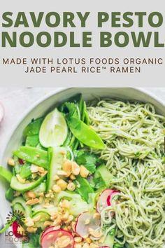 Savory Pesto Noodle Bowl with a spring veg salad! So fresh and sooo good, #pesto #ramen #noodles #vegan Food Inc, A Food, Meal Prep Plans, Spiralizer Recipes, Noodle Bowls, Food Website, Ramen Noodles, Salad Ingredients, Freezer Meals