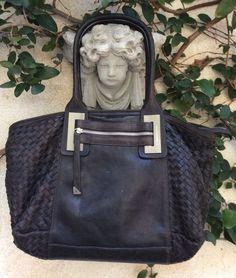 Francesco Biasia SoFt Woven Intrecciato Leather Shopper Travel Tote Bag Purse  #FRANCESCOBIASIA #TotesShoppers
