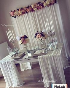 how to swag a tablecloth easily diy wedding sweetheart table Wedding Decorations, Table Decorations, Sweetheart Table, Event Decor, Diy Wedding, Trendy Wedding, Buffet Wedding, Wedding Tables, Wedding Anniversary