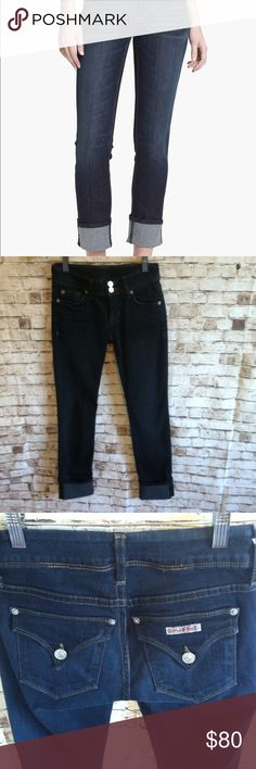 """Hudson """"Ginny"""" Cuffed Straight Jeans Dark wash, soft stretchy denim. Perfect condition, no flaws. Wish these weren't too small for me. This is my favorite wash, can be dressed up or down. These are in new condition, possibly NWOT. Hudson Jeans Jeans Straight Leg"""