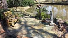 Lakeside flagstone patio with polymer grout.