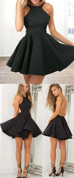 a7bda8b9c8 Backless Short Mini Short Black Homecoming Dresses Prom Dress