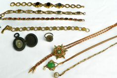 Antique Vtg Jewelry Lot Bracelets Pendants GF Onyx Rhinestones Butterfly Wing | eBay