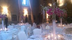 Tall purple centerpiece at Four Seasons Florence