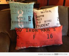 Movie tickets pillows... need this