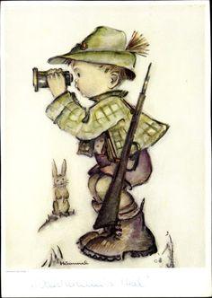 Artist Postcard Hummel, Junge als Jäger mit Fernglas und Gewehr, Hase, Nr. 5616