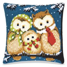 Cute Winter Owls Pillow Top - Cross Stitch, Needlepoint, Embroidery Kits – Tools and Supplies