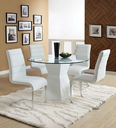 5pc Modern Oahu Glass Top High Gloss Lacquer Pedestal Dining Table  + 4 Chairs
