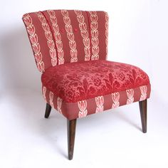 Cranberry Cut Velvet Chair
