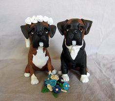 Polymer clay dog custom wedding cake topper