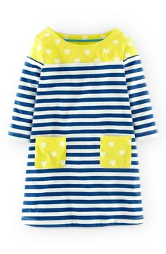 """Free shipping and returns on Mini Boden 'Hotchpotch' Dress (Toddler Girls, Little Girls & Big Girls) at Nordstrom.com. <p><B STYLE=""""COLOR:#990000"""">Pre-order this style today! Add to Shopping Bag to view approximate ship date. You'll be charged only when your item ships.</b></p><br>A contrast heart print stands out at the yoke and patch pockets of a comfy elbow-sleeve jersey dress patterned with crisp stripes."""