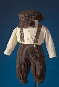 b7a3879ced Boys Brown and Champagne Checkered Knicker Set with Suspenders by Shannon  Kids