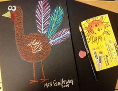 Oil Pastel Texture Turkeys - Art Teacher in LA