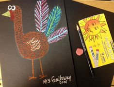 2nd Grade Texture Turkeys, Oil pastel, craypas, fall art projects, thanksgiving art,elementary art lessons, middle school art lessons, www.ArtTeacherinLA.com