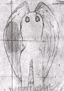 Mothman (actual sketch by eyewitness Linda Scarberry).     Mothman is a legendary creature reportedly seen in the Point Pleasant area of West Virginia from 15 November 1966 to 15 December 1967.